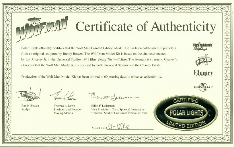 Certificate of Authenticity #0-006