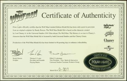 Certificate of Authenticity #0-007