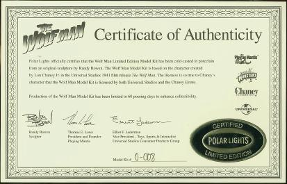 Certificate of Authenticity #0-008