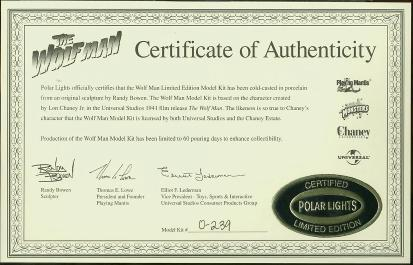 Certificate of Authenticity #0-239
