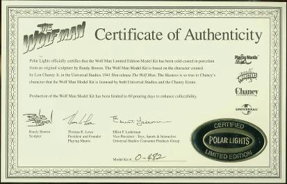 Certificate of Authenticity #0-482